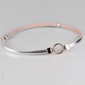 Simple Metal Round Buckle Decorated Skinny Belt -