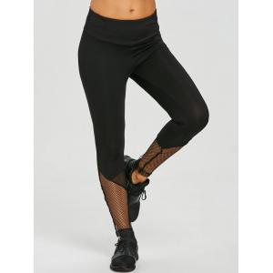 Fishnet Panel Sports Workout Leggings -