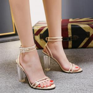 Ankle Strap Clear Heel Sandals -