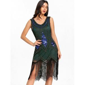 Sequined Fringe Midi Flapper Dress -