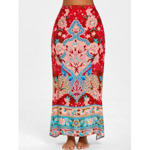Bohemian Flower Print High Slit Skirt -