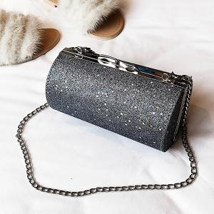 Shimmer Chain Circular Crossbody Bag -