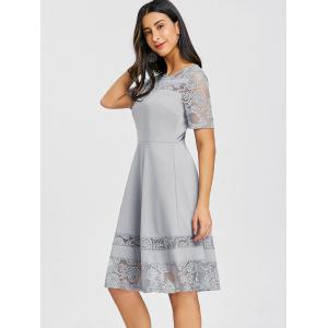 Lace Panel Skater Party Dress -