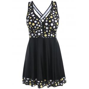 Empire Waist Skirted Polka Dot Tankini Set -