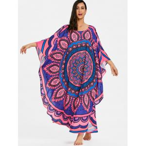 Tribal Print Butterfly Sleeve Long Cover Up -