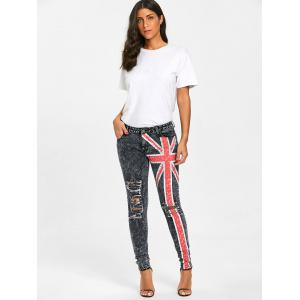 UK Flag Ripped Jeans -