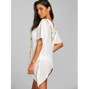 Crochet Tassel Trim Kaftan Asymmetric Cover Up -