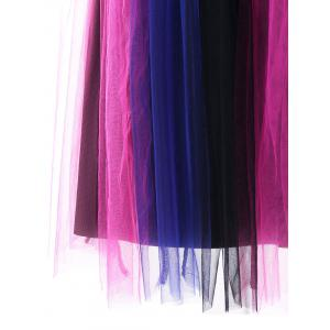 Tulle Rainbow Pleated Fit and Flare Dress -