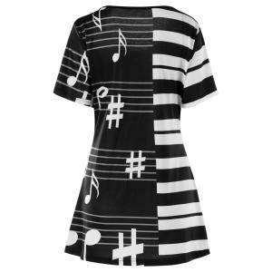 Plus Size Piano key Music Note Print Top -