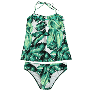 Halter Plus Size Leaf Tankini Top with Briefs -