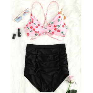 Braided Straps Cherry Print High Waist Bikini Set -