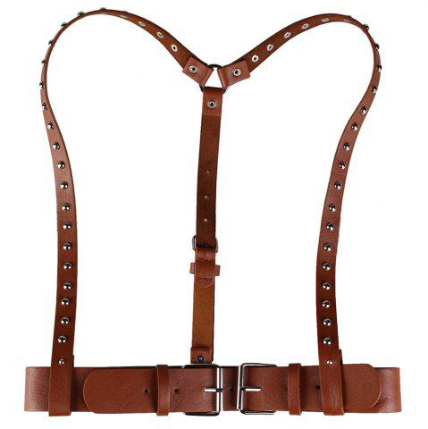 Affordable Vintage Rivet Embellished Punk Harness Faux Leather Belt