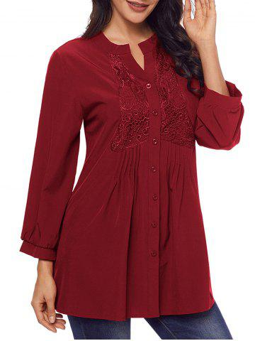 Affordable Split Neck Lace Panel Pintuck Tunic Blouse