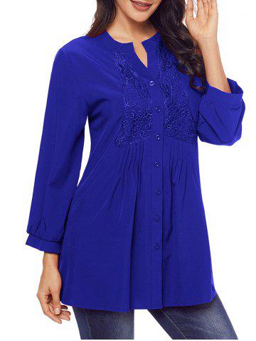 Outfit Split Neck Lace Panel Pintuck Tunic Blouse