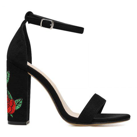 Cheap Floral Embroidered Detail Block Heel Sandals