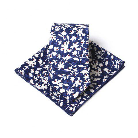Trendy Simple Floral Pattern Printed Necktie and Handkerchief