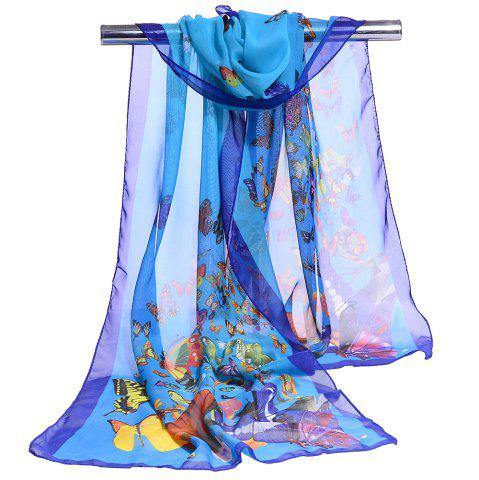 Chic Flying Butterflies Pattern Chiffon Silky Scarf