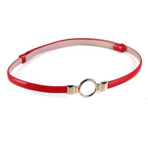 Latest Simple Metal Round Buckle Decorated Skinny Belt