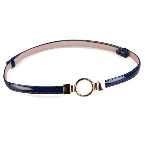 Affordable Simple Metal Round Buckle Decorated Skinny Belt