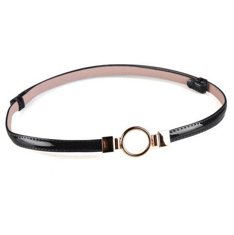 Fashion Simple Metal Round Buckle Decorated Skinny Belt