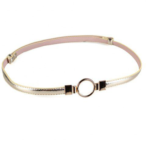 Cheap Simple Metal Round Buckle Decorated Skinny Belt