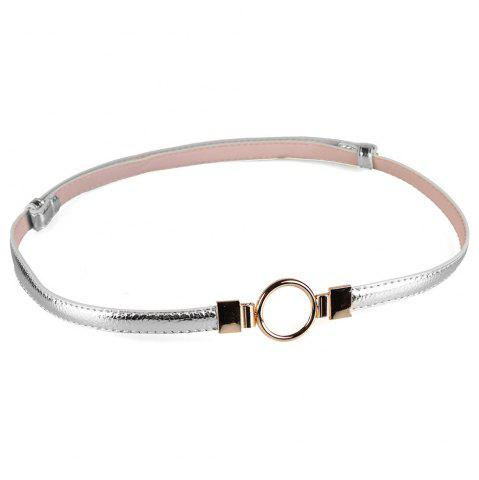 Online Simple Metal Round Buckle Decorated Skinny Belt