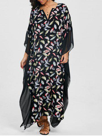 Cheap Mesh Panel Print Maxi Dress