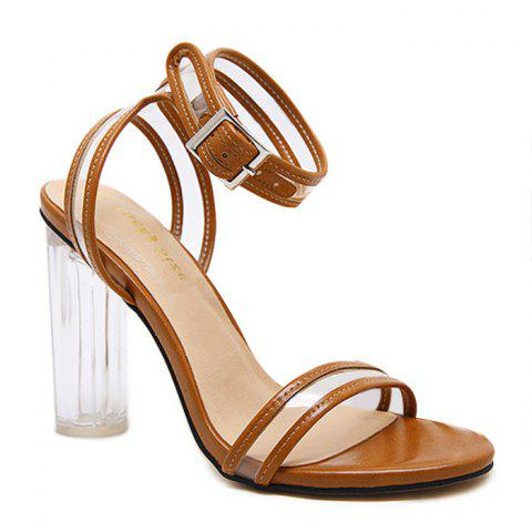 Discount Ankle Strap Clear Heel Sandals