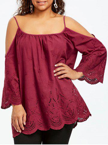 Fashion Plus Size Openwork Dew Shoulder Blouse