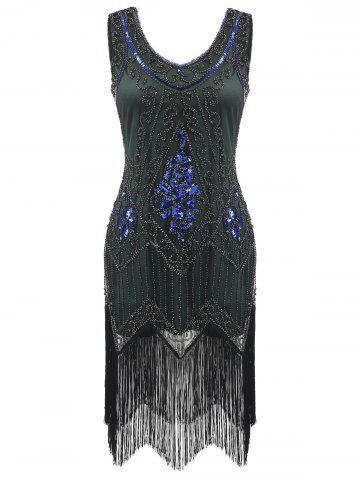 Latest Sequined Fringe Midi Flapper Dress