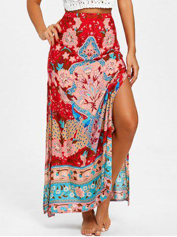 Trendy Bohemian Flower Print High Slit Skirt
