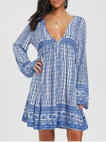 New Long Sleeve Low Cut Print Dress