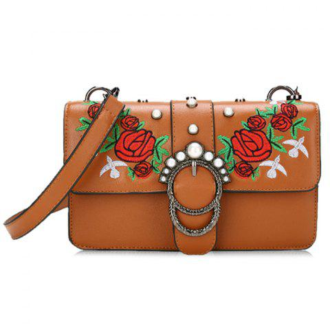Shop Round Buckled Floral Embroidery Crossbody Bag