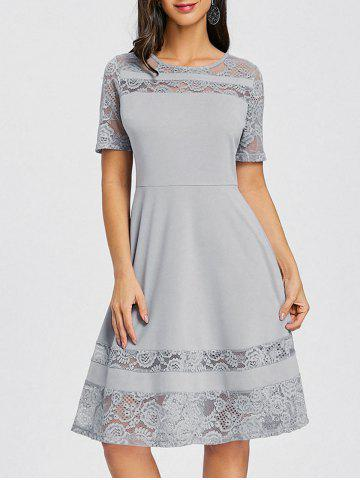 Trendy Lace Panel Skater Party Dress
