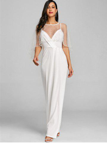 Sheer Mesh Panel Maxi Evening Dress