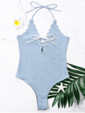 Store One Piece Scalloped Halter Swimwear with Lace Up