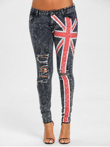 Trendy UK Flag Ripped Jeans