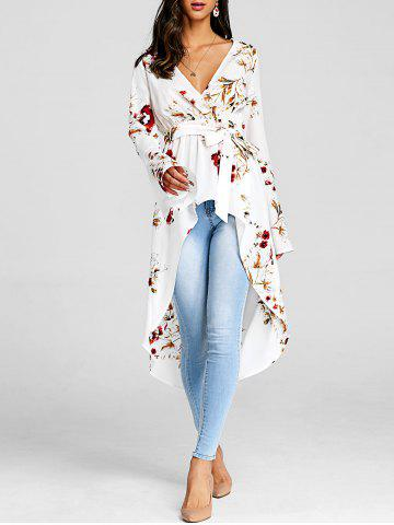 Chic Floral Print High Low Long Blouse
