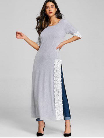 Lace Panel High Split Maxi Tee