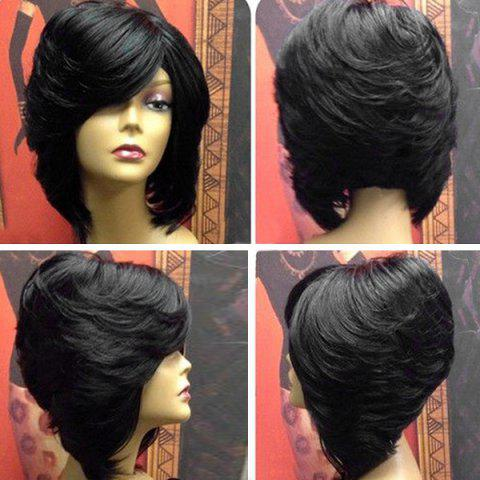 Short Upwards Layered Side Bang Straight Feathered Inverted Bob Synthetic  Wig 6f90c356f