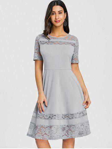 Lace Panel Skater Party Dress