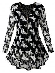 Plus Size Lace Butterfly Print Tunic Blouse -
