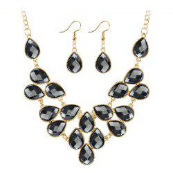 Artificial Cubic Crystal Waterdrop Pendant Necklace and Earrings Set -