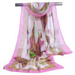 Soft Floral Pattern Printed Chiffon Scarf -