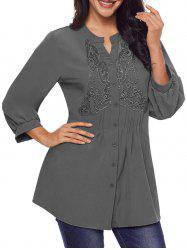 Split Neck Lace Panel Pintuck Tunic Blouse -