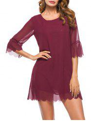 Scalloped Chiffon Mini Dress -