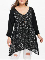 Plus Size Safety Pin Graphic Tunic T-shirt -