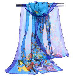 Flying Butterflies Pattern Chiffon Silky Scarf -
