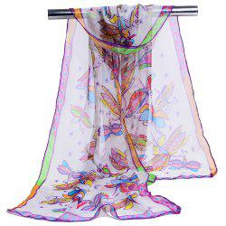 Flying Butterfly Pattern Printed Silky Scarf -