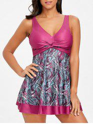 Empire Waist Skirted Print Tankini Set -